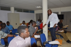 The Resource Person, Mr. Ato Afful taking participants through the Training