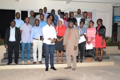 The Executive Director Mr. Francis Dadzie (right) and Mr. Ato Afful, the Resource Person (left) in a group picture with participants of the AAG Professional Development Programme – Module 2