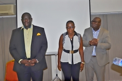From left to right, Mr. Joel Nettey, AAG President, Mrs. Akua Owusu Nartey, the Resource Person and Mr. Francis Dadzie, Executive Director