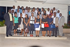 Front row left Mr. Joel Nettey, President of AAG, fifth from left, Mrs Akua Nartey, the Resource Person and Mr. Francis Dadzie Executive Director, AAG first from right, in a group picture with participants of AAG Training Programme Module 3